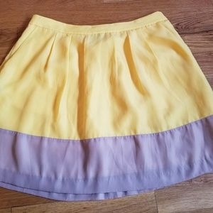 J crew yellow tan color block flowy mini skirt